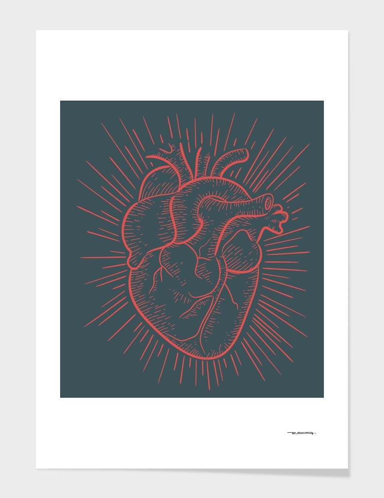 Heart on red illustration