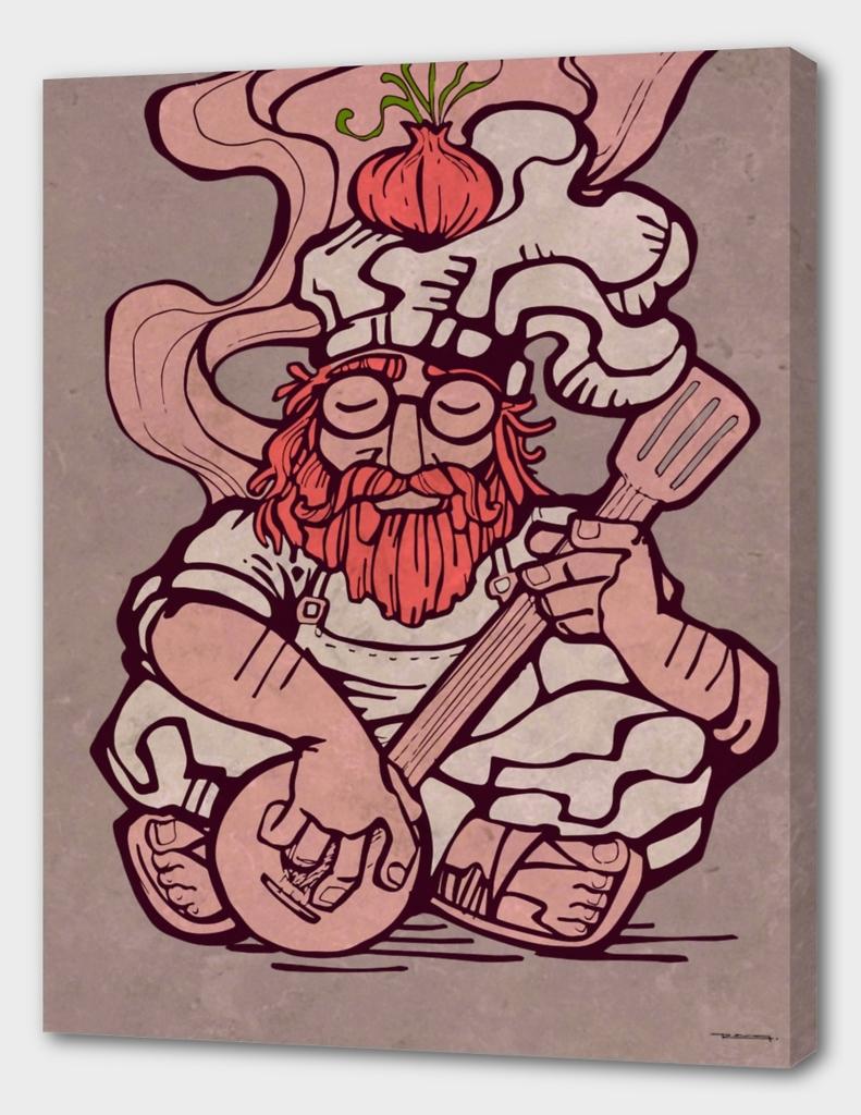 Hippie chef illustration