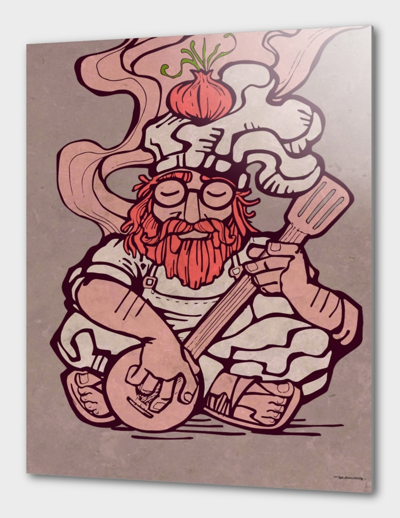 Hippie chef illustration