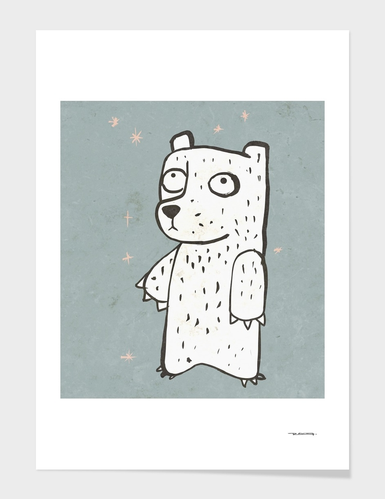 Shy bear cartoon illustration