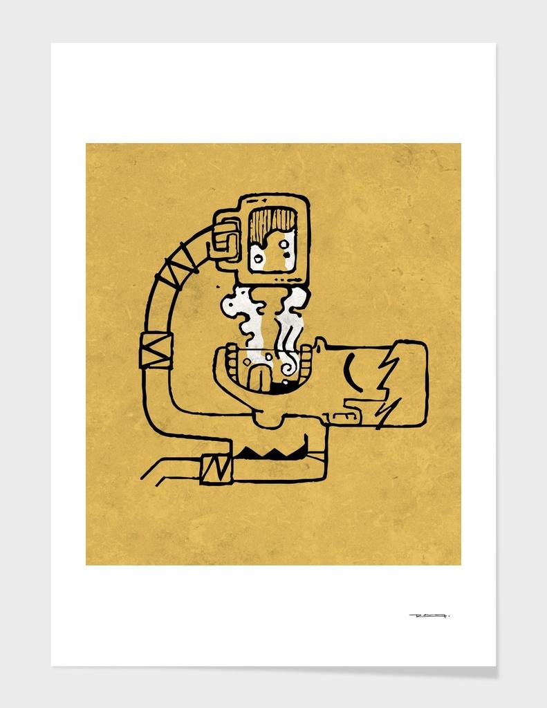Man drinking beer illustratioon