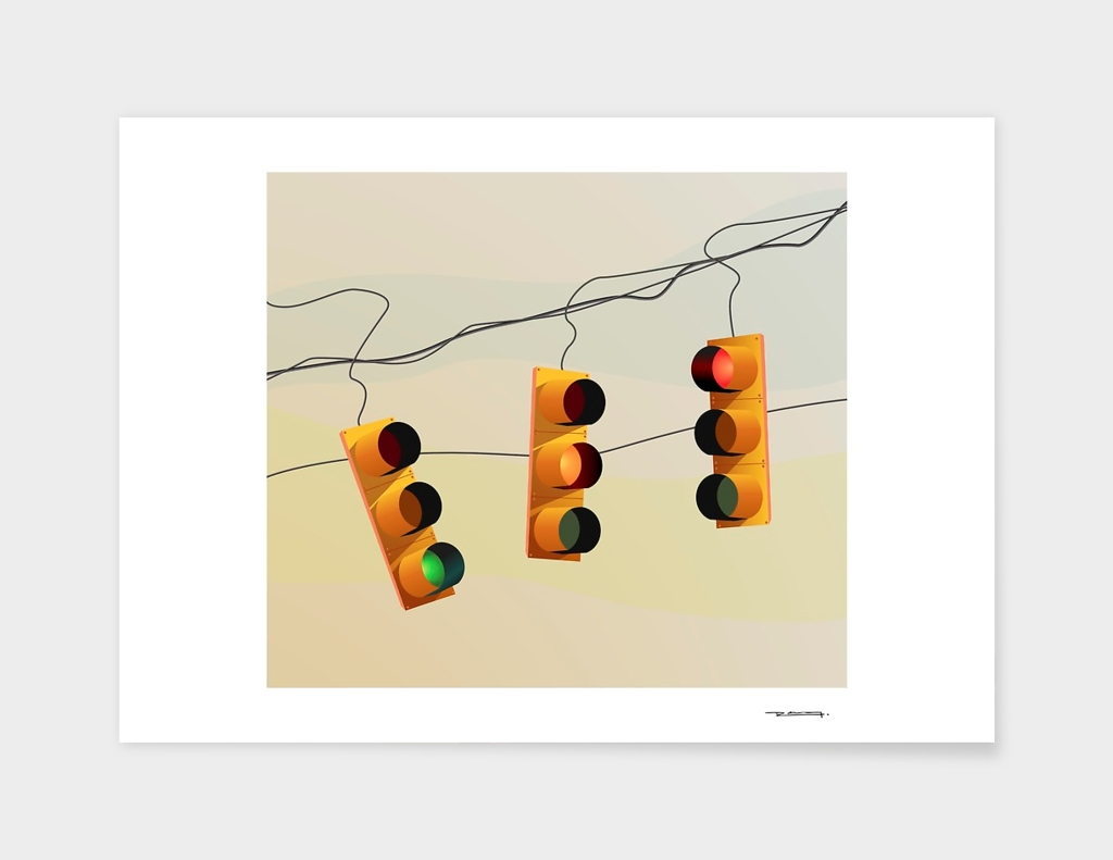 Traffic lights and sunset illustration