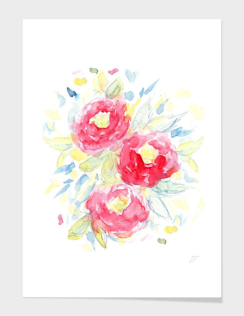 Painterly Peony Print