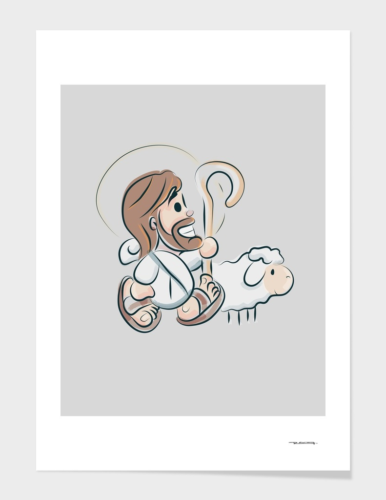 Jesus Christ Good Shepherd cartoon style