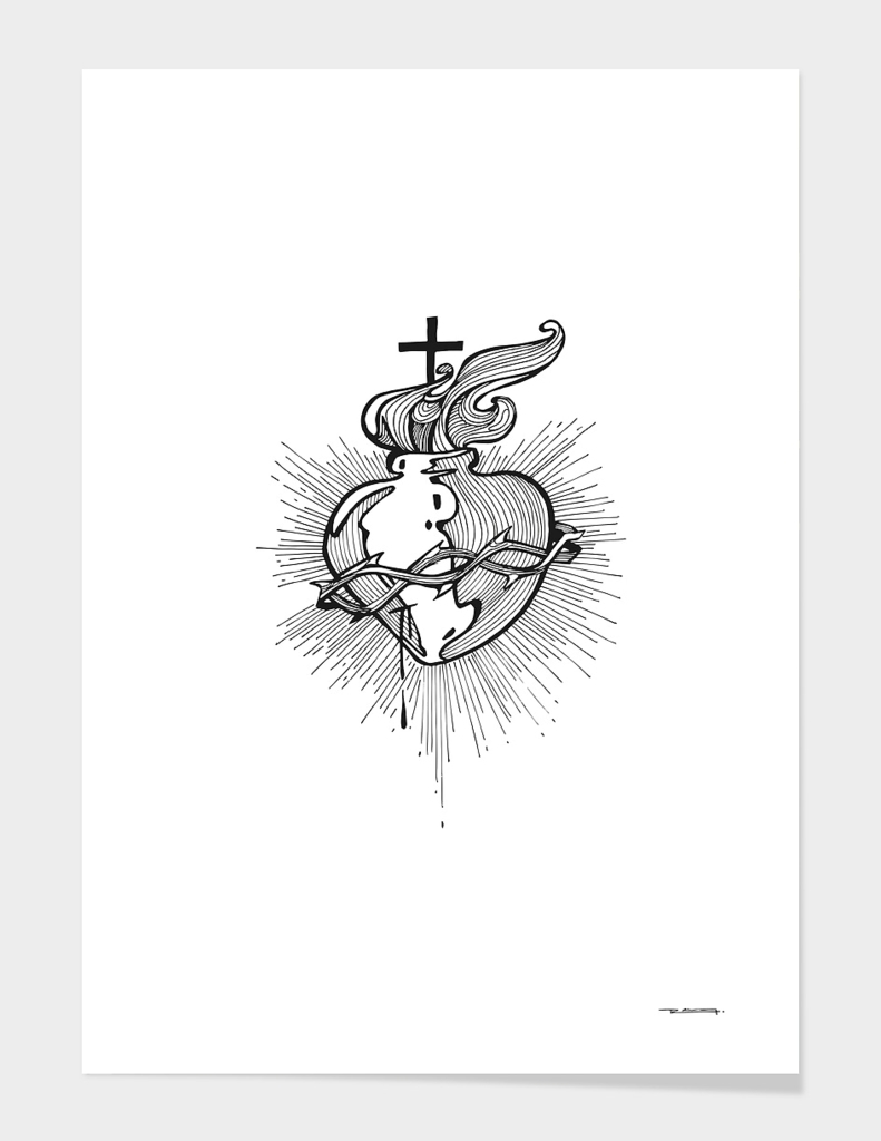 Jesus Christ Sacred Heart Illustration