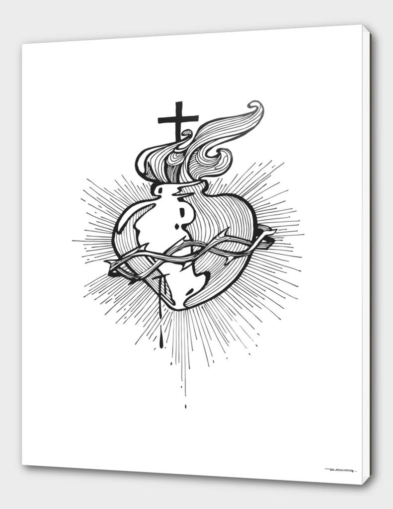 Jesus Christ Sacred Heart Illustration