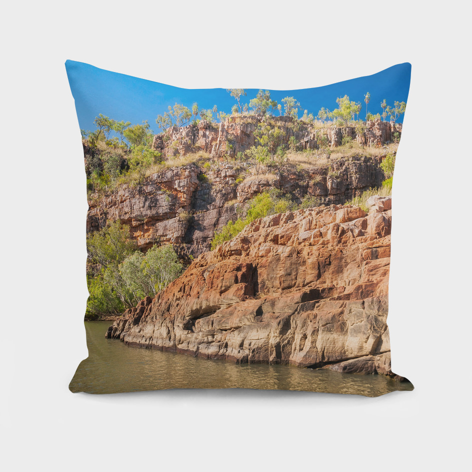 Sandstone cliffs panorama at Katherine Gorge, Australia