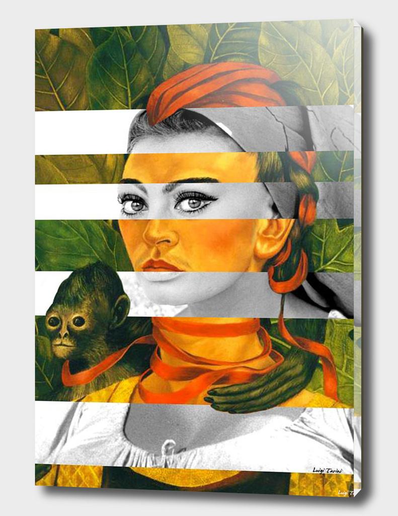 Frida's Self Portrait with Monkey & Sophia Loren