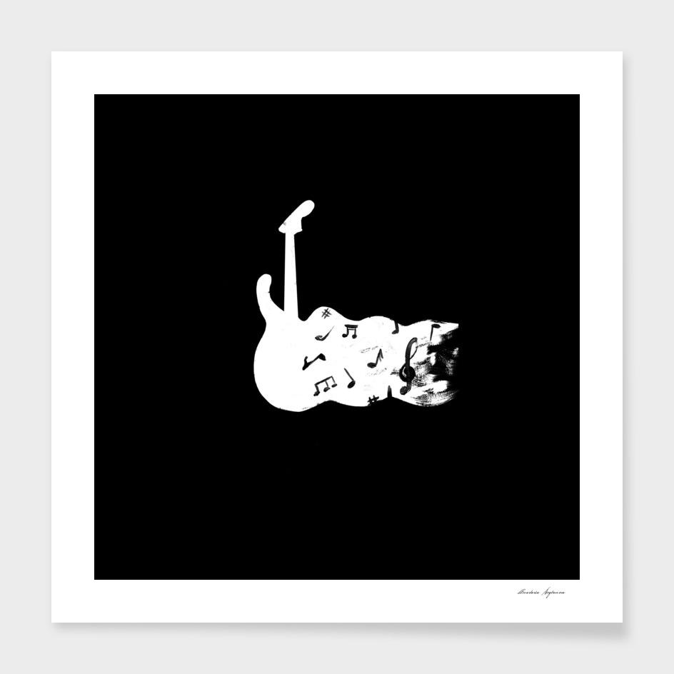 electric guitar silk screen print
