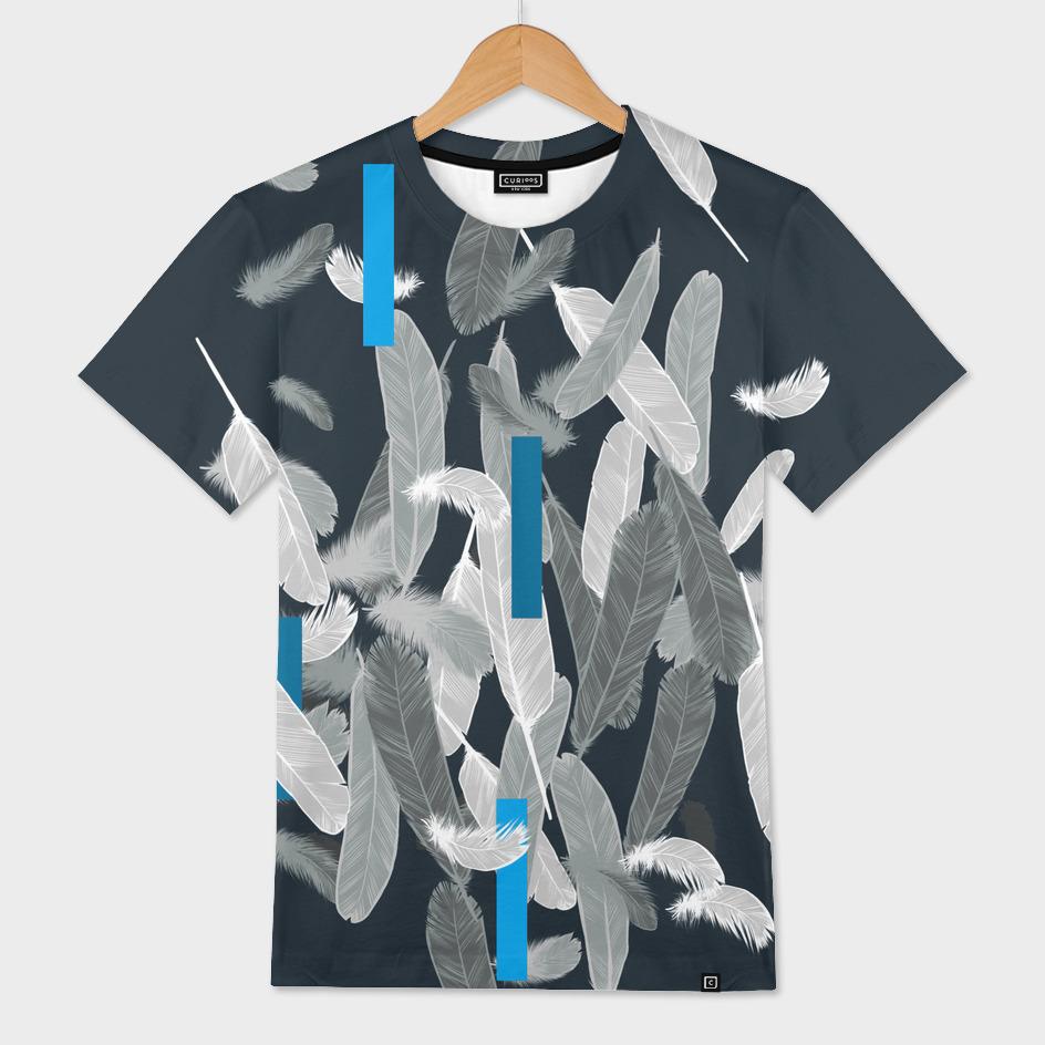 White feathers and geometrics blue