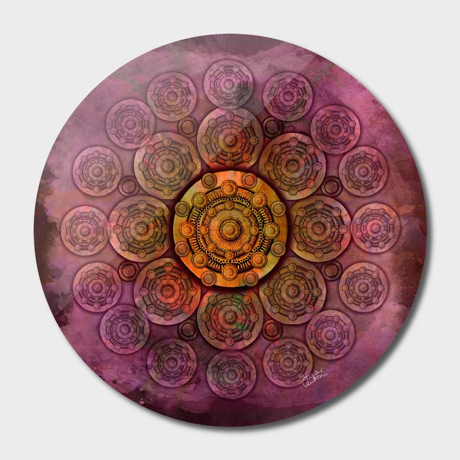 """Purple Mulberry violet shades & Gold Metal Mandala"""