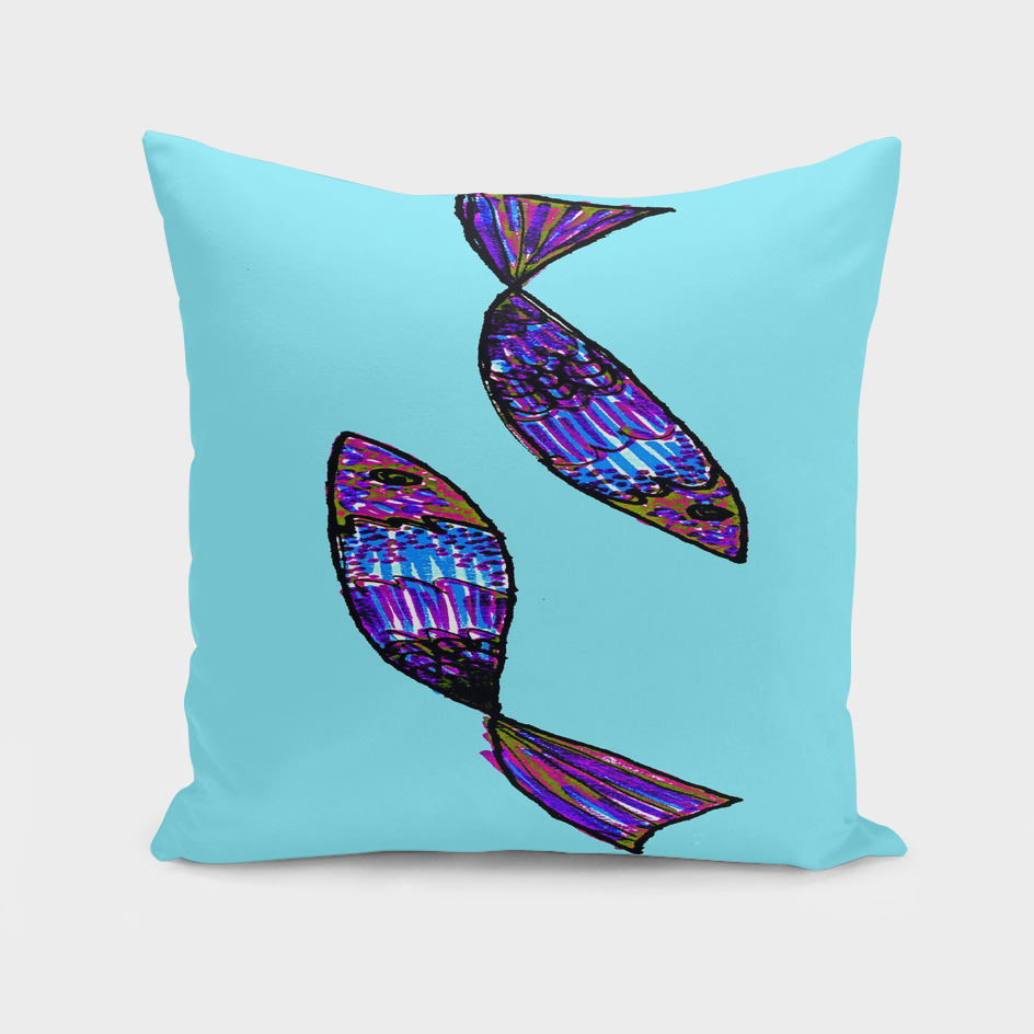 Jeweled Fishes I ~ Turquoise Sea