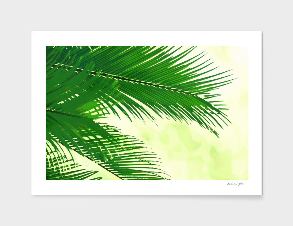 Green and yellow palms watercolour