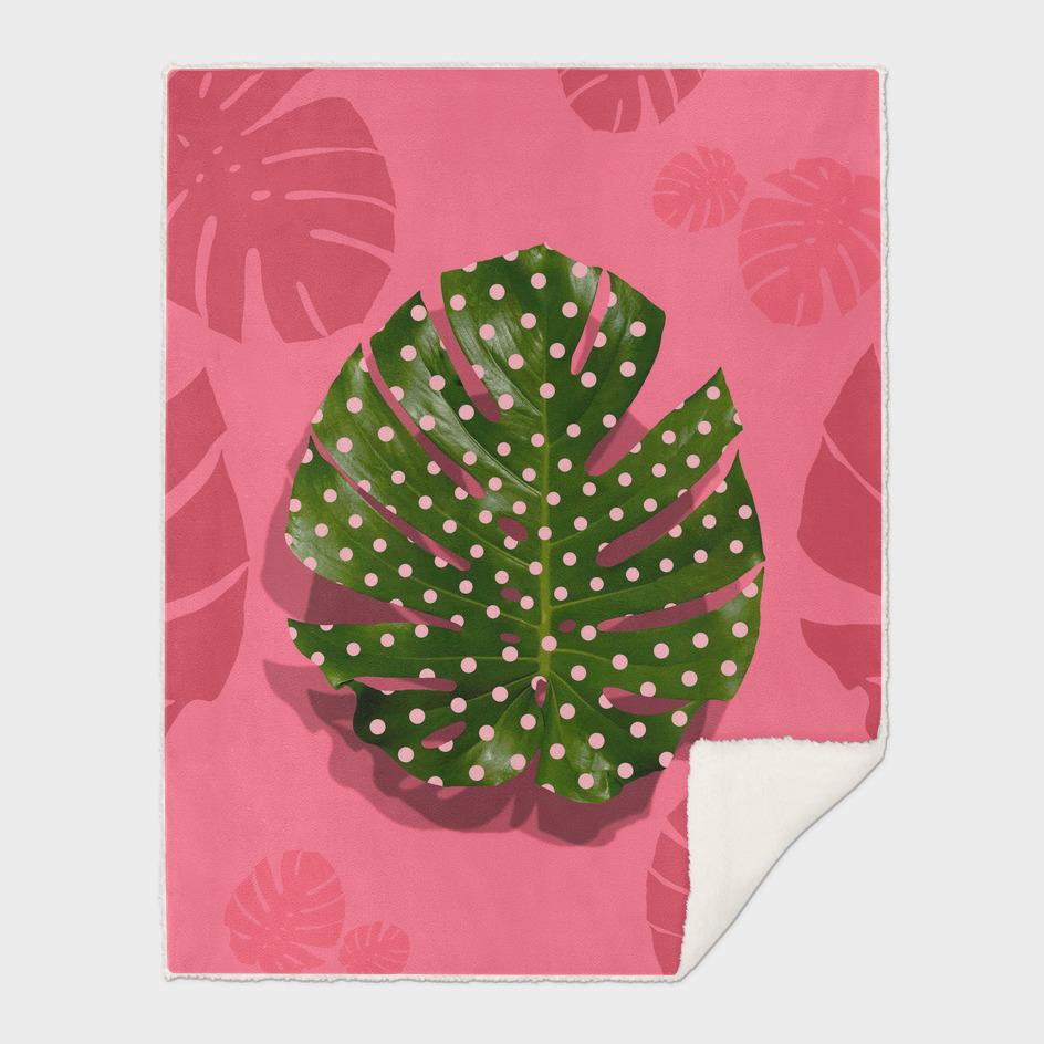 """""""Moss green leaf and pink flamenco polka dots"""""""