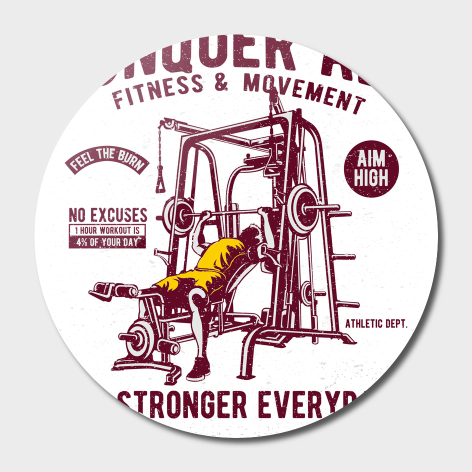 Conquer All Retro Text Fitness Design