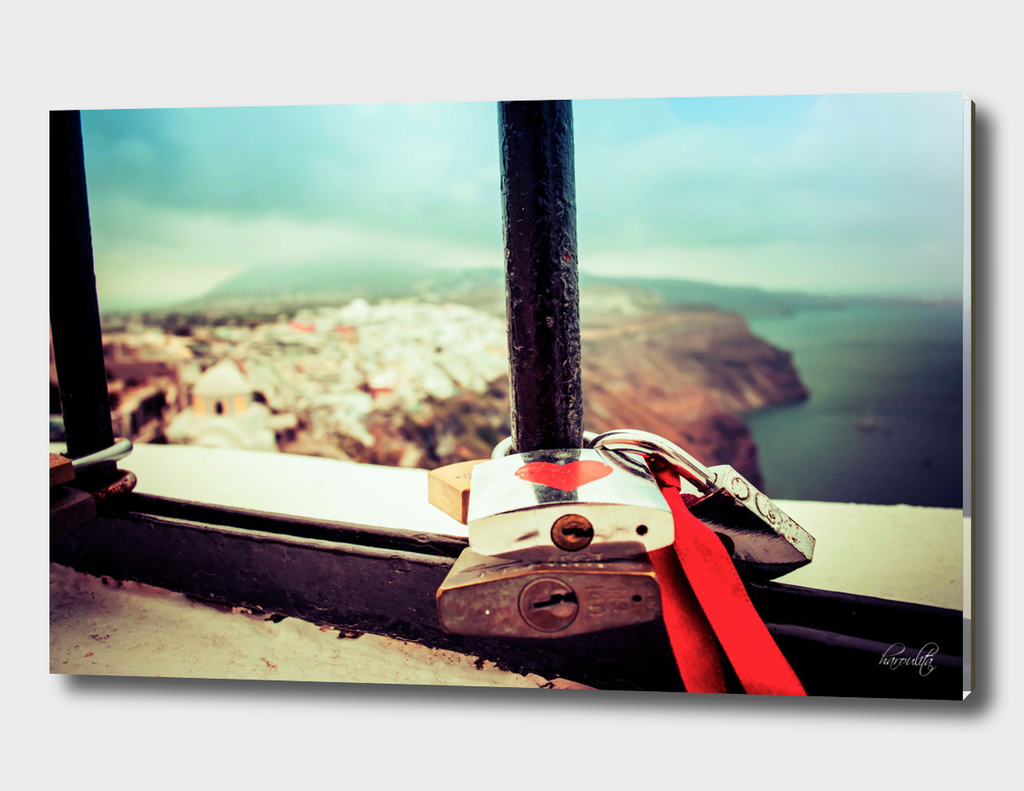 Love locks in Santorini