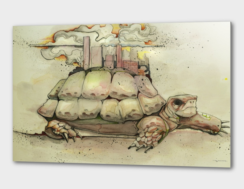 City on a turtle illustration