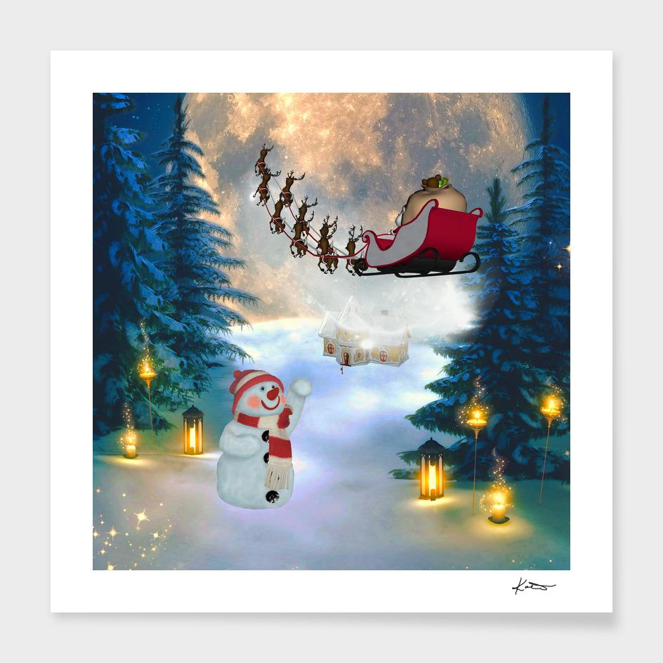 Christmas, snowman with santa claus