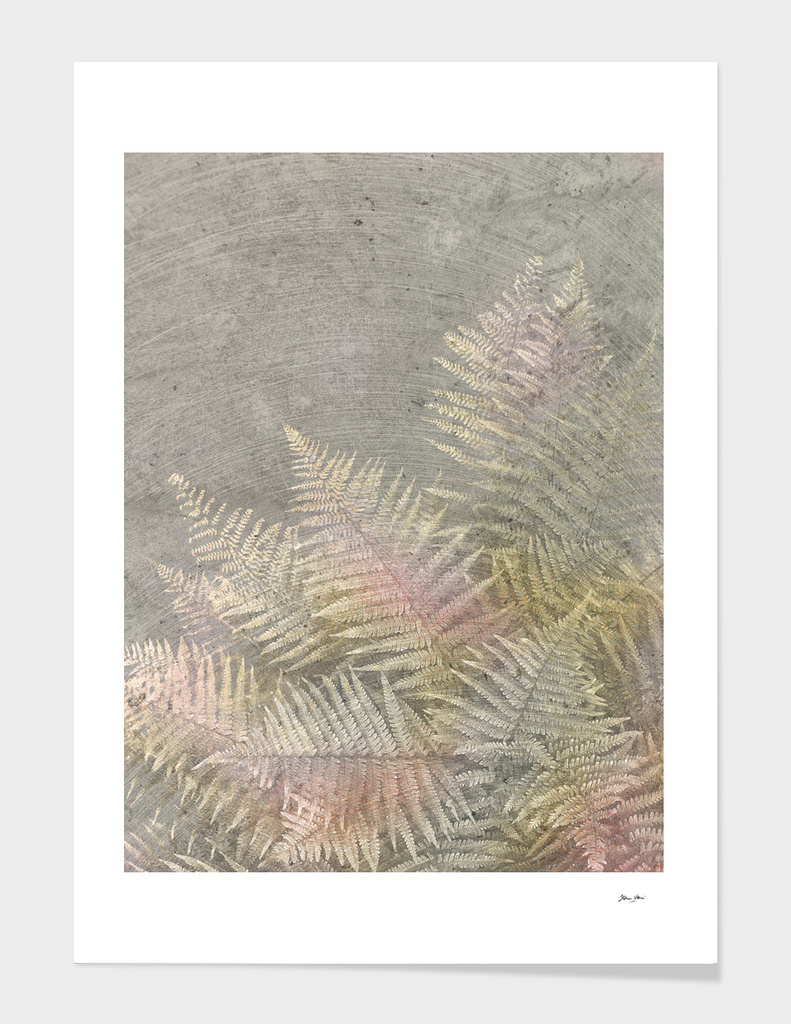 Fossil Rose Gold Fern on Brushed Stone