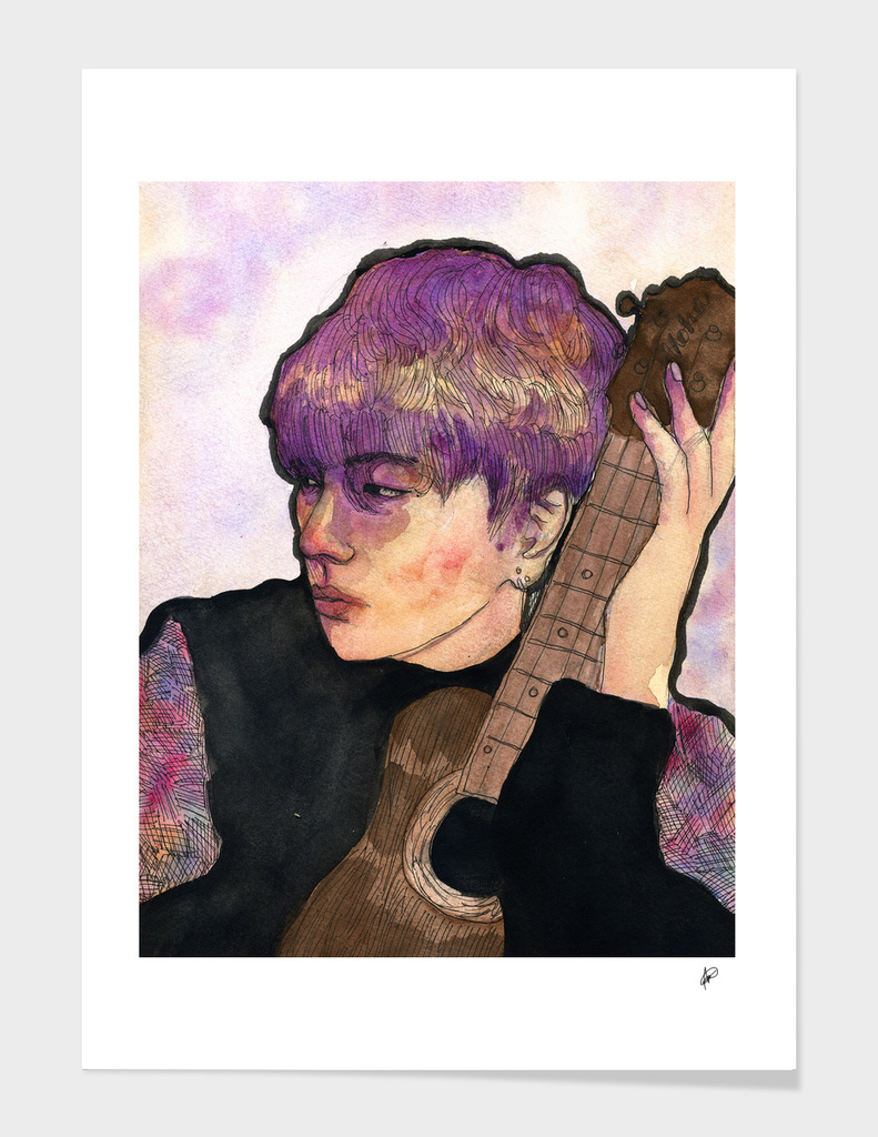 Taehyung and a guitar