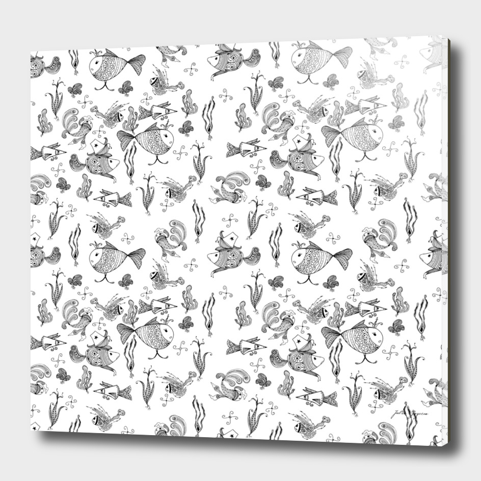 Seamless hand draw cartoon fairy fishes