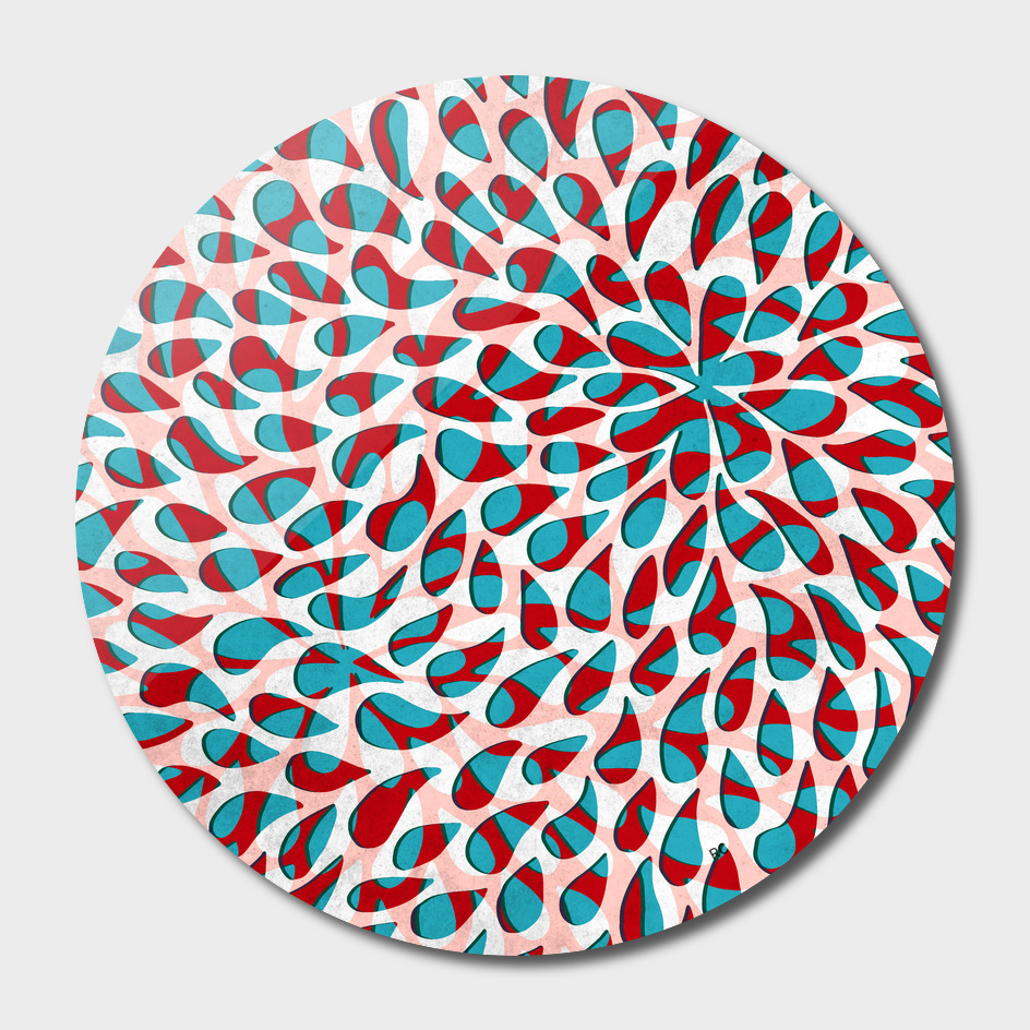 Organic Petals Pattern Red Blue