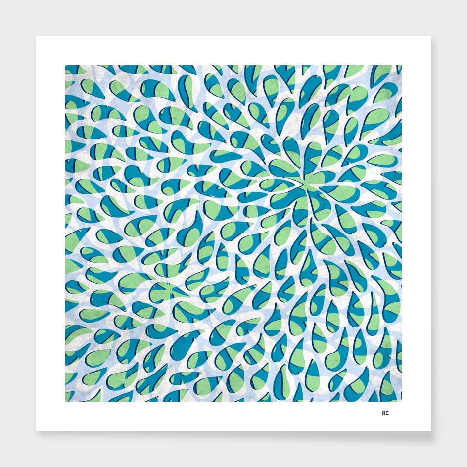 Organic Petals Pattern Blue Green