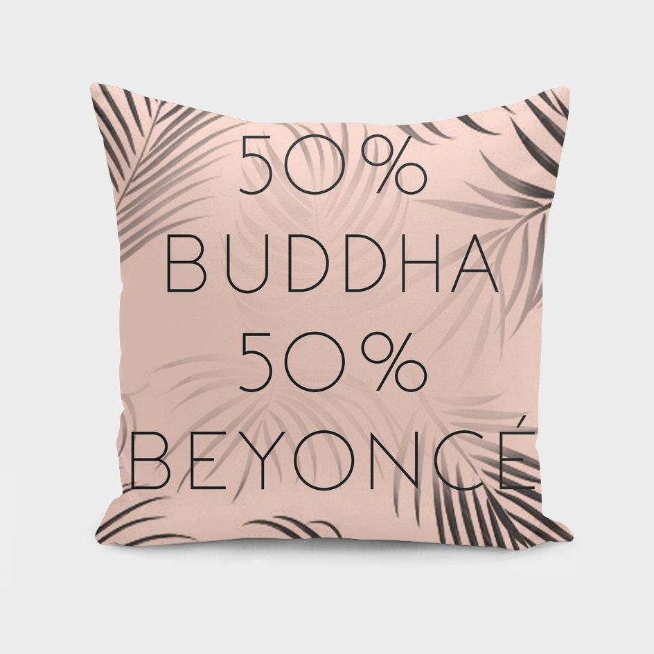 """""""50% Buddha 50% Beyonce"""" Rosy Text Print With Plant Pattern"""