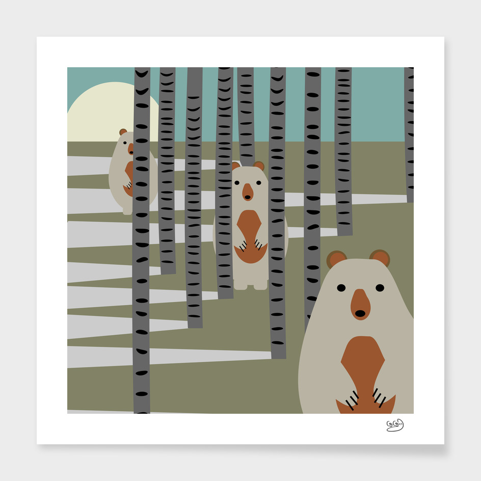 Bears hiding behind the trees