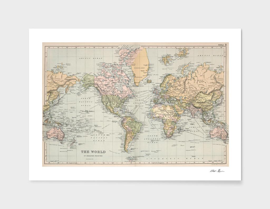 Vintage World Map (1892)
