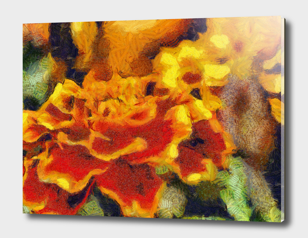 Red-and-yellow flower. Van Gogh style painting