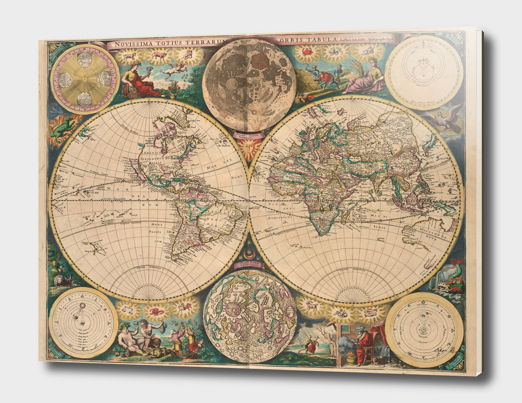 Vintage Map of The World (1672)