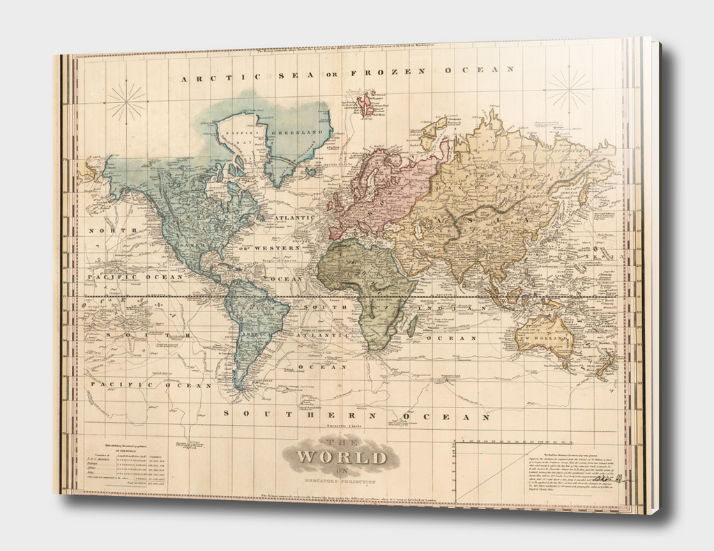 Vintage Map of The World (1823)