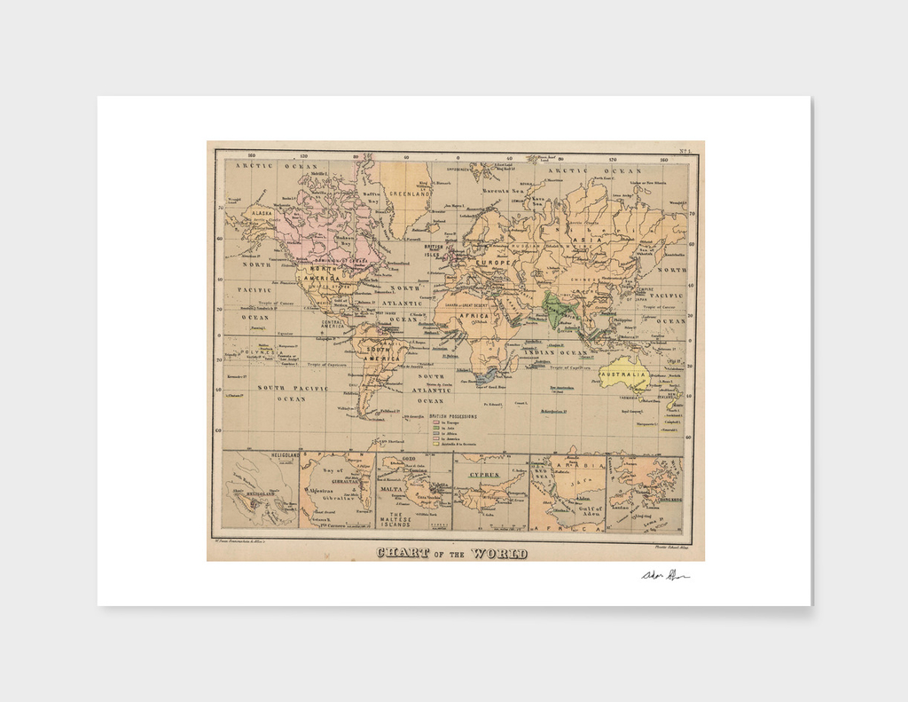 Vintage Map of The World (1880)