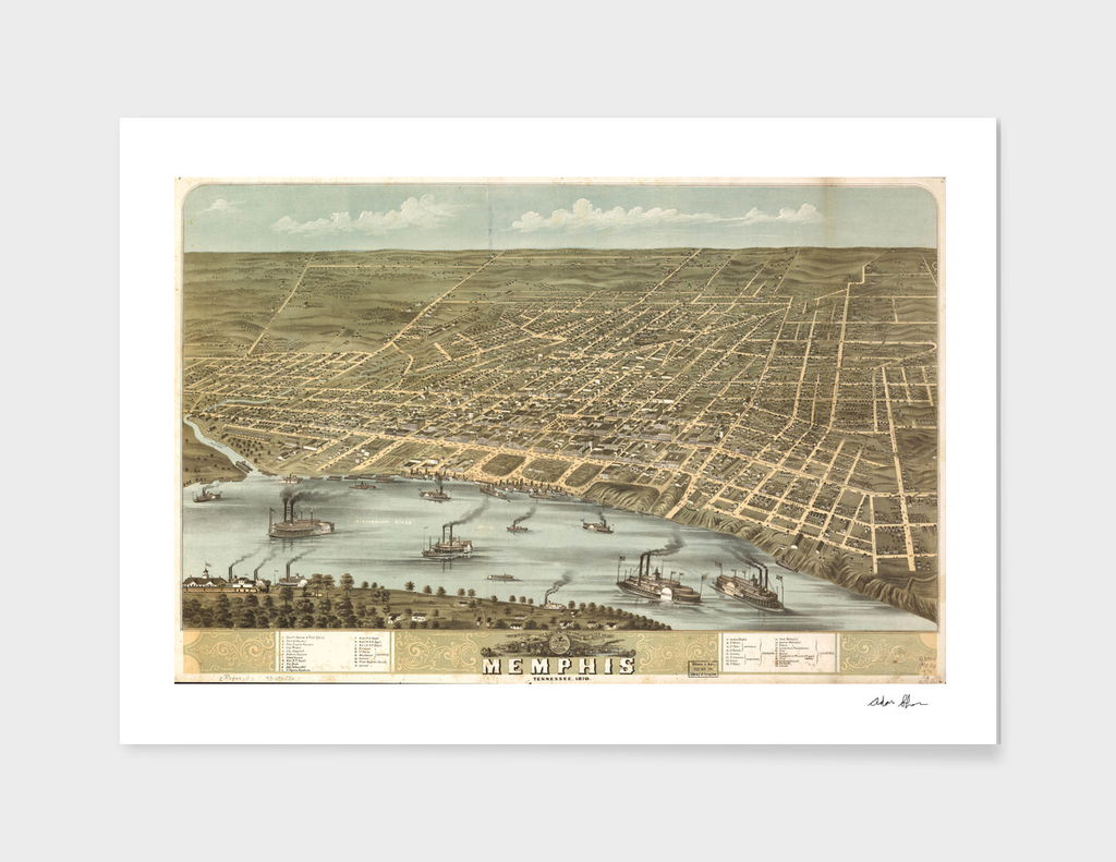 Vintage Map of Memphis Tennessee (1870)