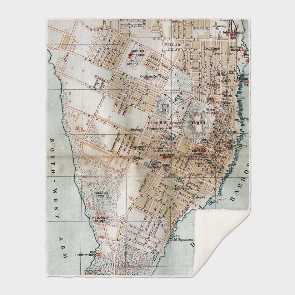 Vintage Map of Halifax Nova Scotia (1890)