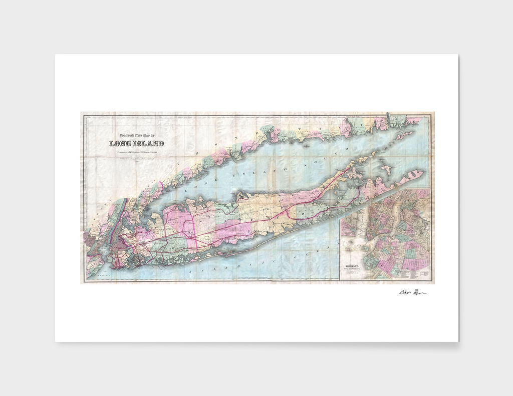 Vintage Map of Long Island NY (1880)
