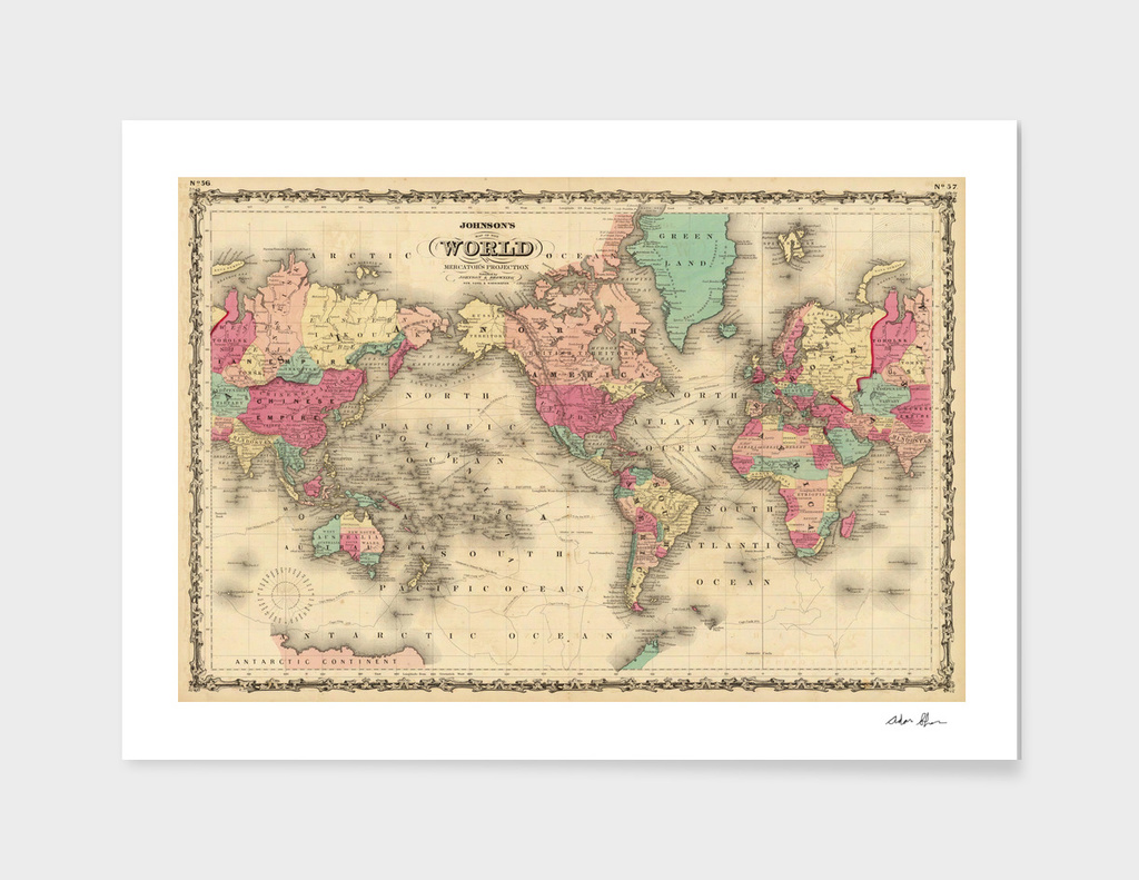 Vintage Map of The World (1860)