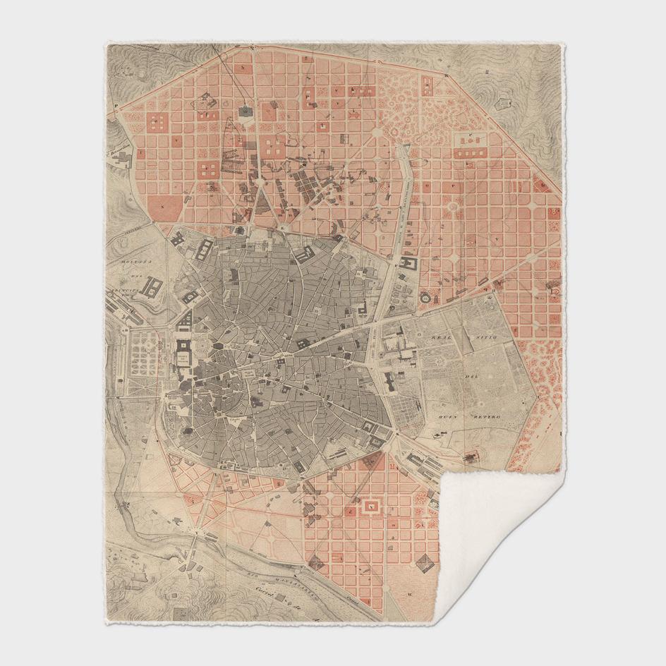 Vintage Map of Madrid Spain (1861)