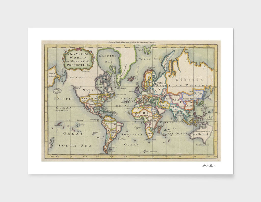 Vintage Map of The World (1766)