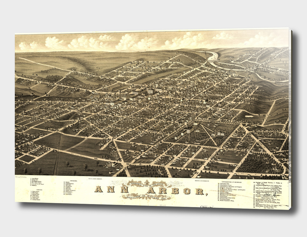 Vintage Map of Ann Arbor Michigan (1880)