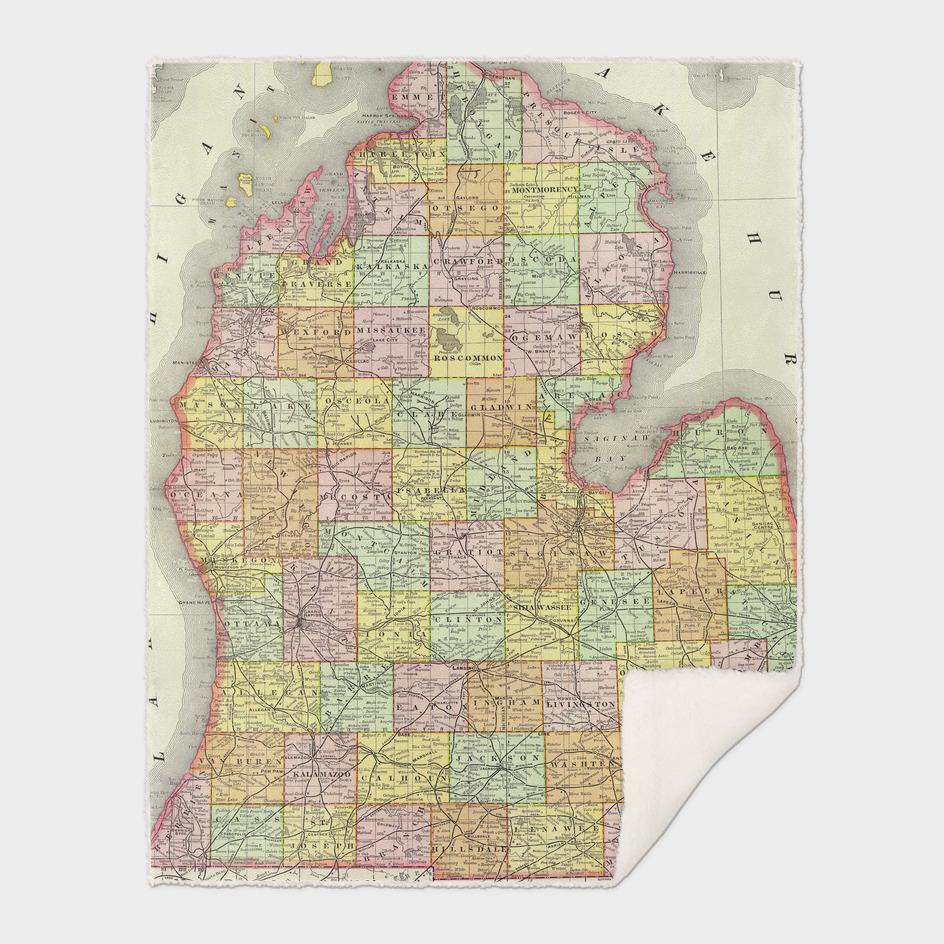 Vintage Map of Michigan (1897)