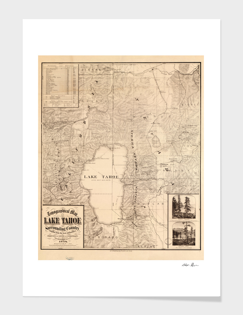 Vintage Map of Lake Tahoe (1874)