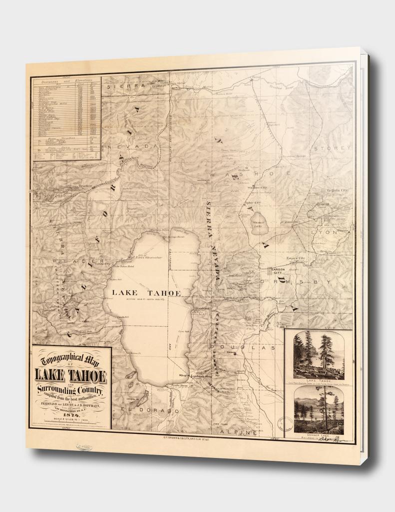 Vintage Map of Lake Tahoe (1874)