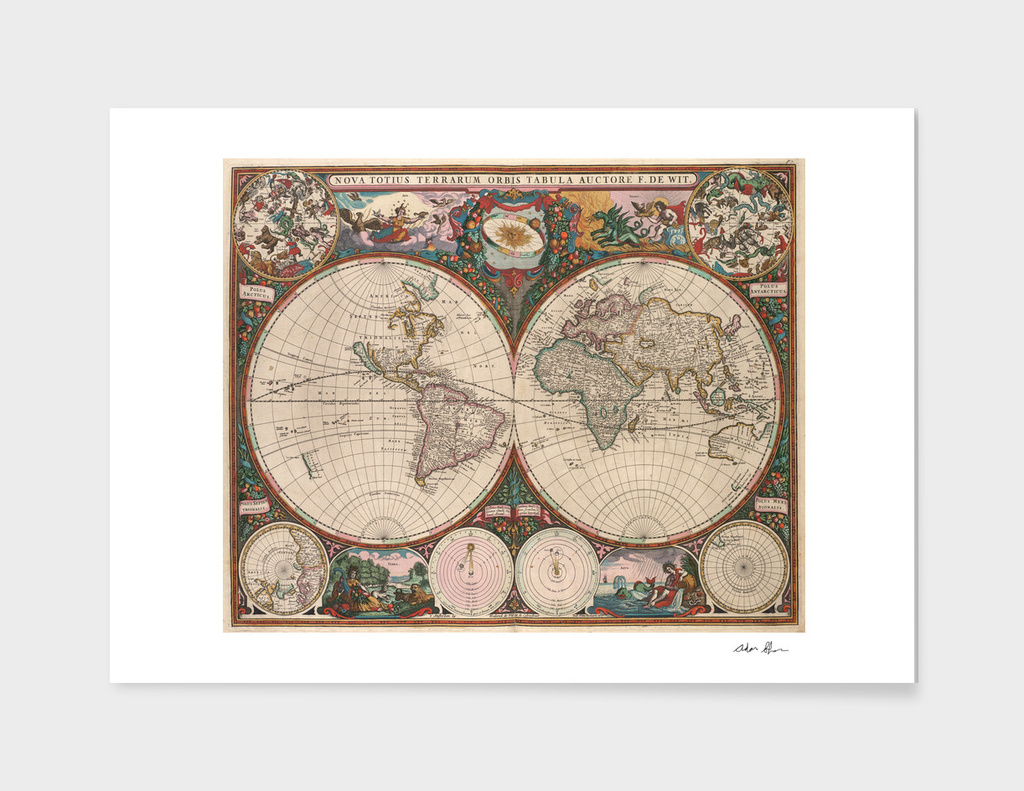 Vintage Map of The World (1665)