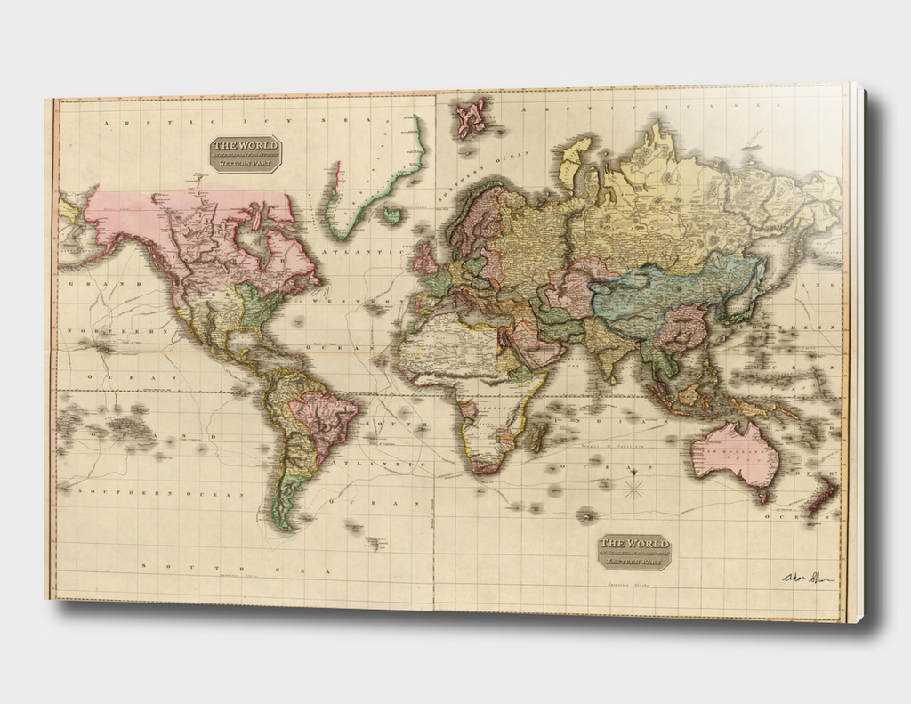 Vintage Map of The World (1812)
