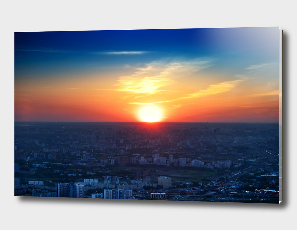 Sunset over Moscow city