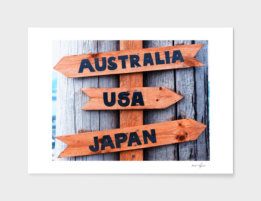 Australia-USA-Japan wooden sign