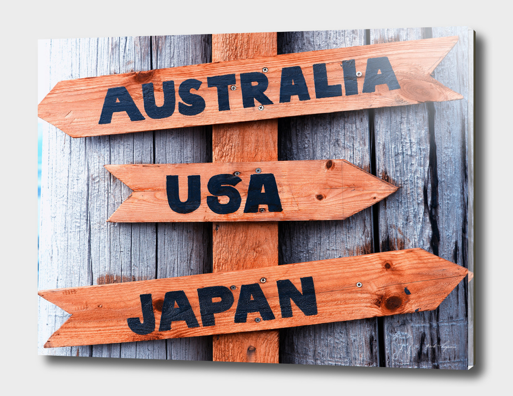 Australia-USA-Japan wooden sign