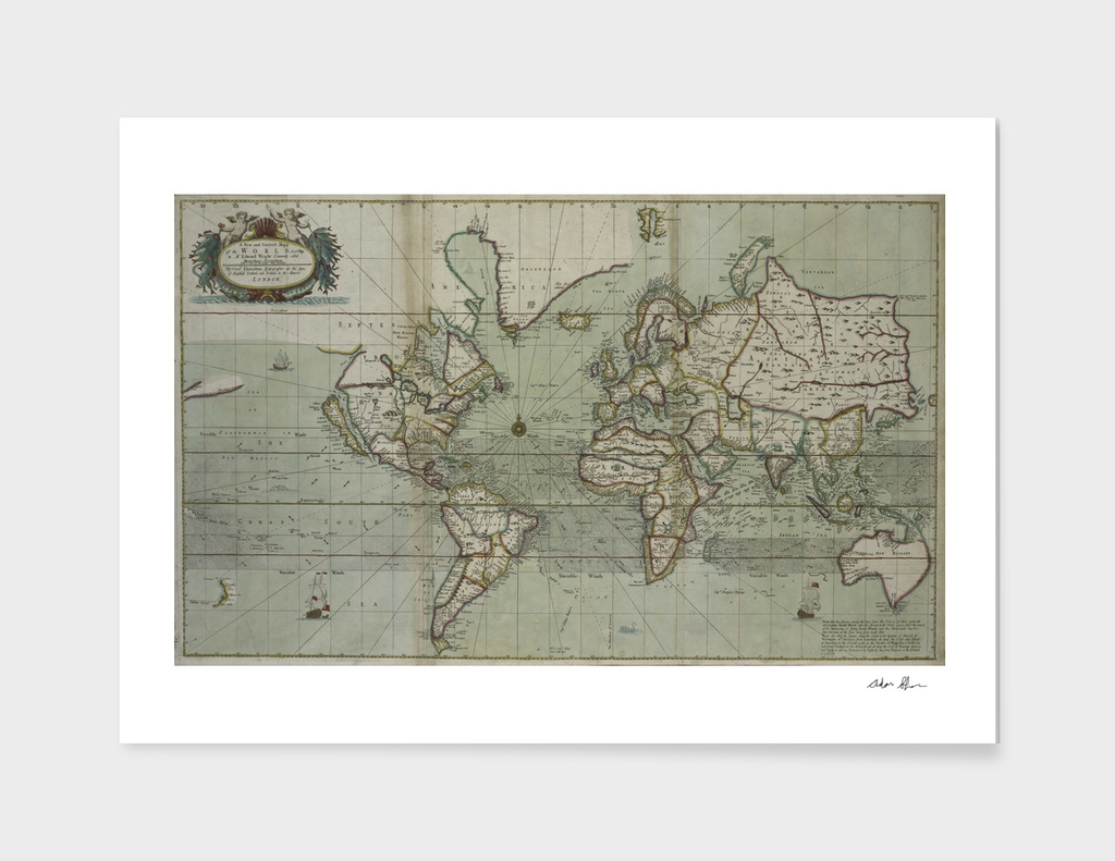 Vintage Map of The World (1702)